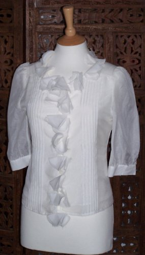 CHLOE SILK RUFFLE BLOUSE US 2 UK 8