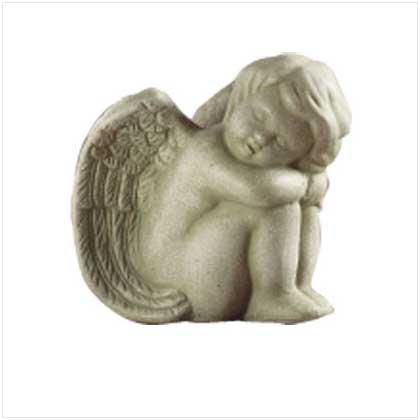 STONE FINISH SITTING ANGEL