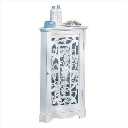 Distress White Grape Corner Cabinet
