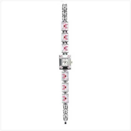 Pink Butterfly Silver Link Watch