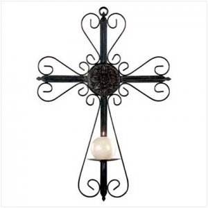 METAL CROSS WALL CANDLE HOLDER