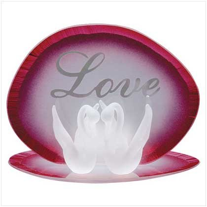 Glass Love Swans Candleholder