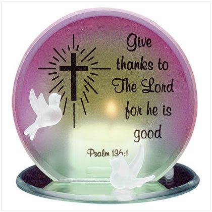Glass Give Thanks Lord Candleholder