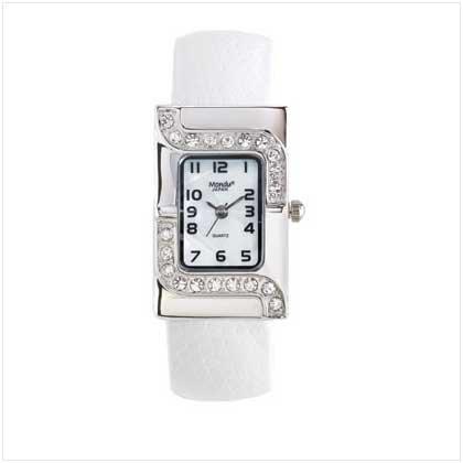 Silver Case White Cuff Watch