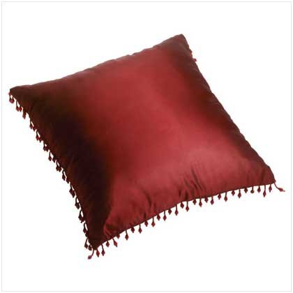 Burgundy Pillow with Bead Tassels