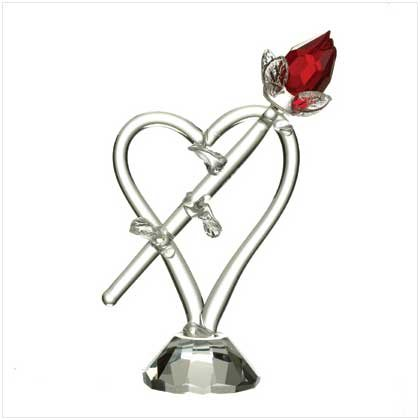 CUT GLASS RED ROSE/HEART/BASE