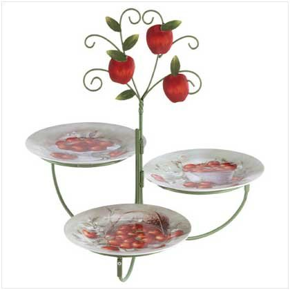 4 PC APPLE PLATES/TABLE STAND
