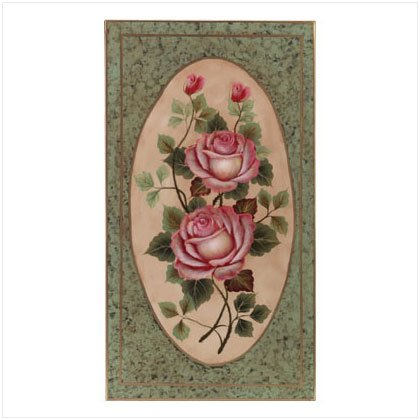 Metal Hand-Painted Rose Wall Plaque