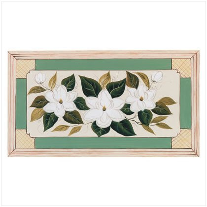 Metal Hand-Painted Magnolia Plaque