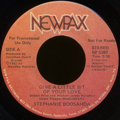 "STEPHANIE BOOSAHDA--""GIVE A LITTLE BIT OF YOUR HEART"" (Stereo/Stereo) 45 RPM 7"" Vinyl"
