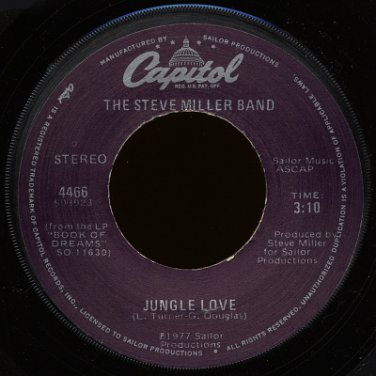 "THE STEVE MILLER BAND--""JUNGLE LOVE"" (3:10)/""WISH UPON A STAR"" (3:39) 45 RPM 7"" Vinyl"