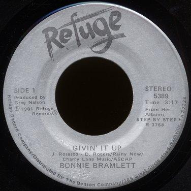 """BONNIE BRAMLETT--""""GIVIN"""" IT UP"""" (3:17) (Stereo/Mono) 45 RPM 7"""" Vinyl"""