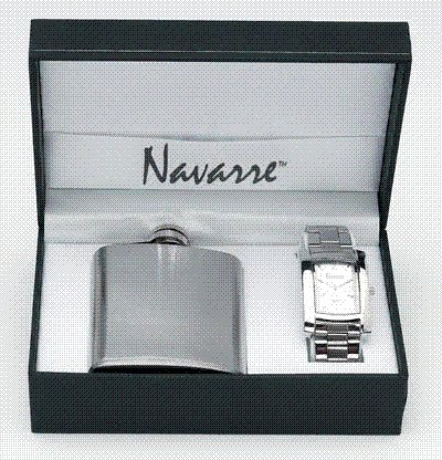 Men's Watch and Flask Gift Set