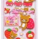 San-X Rilakkuma 3-D Sticker - Thank you & Strawberry