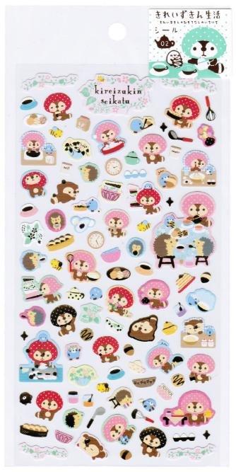 """San-X Kireizukin Seikatu """"Pink Hood"""" Series Sticker with Gold Accent - #2"""