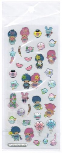 Sanrio Little Twin Star Epoxy Sticker with Silver Accent