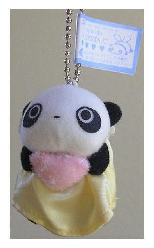 San-X Tare Panda Hanging Plush - Angel & Pink Heart