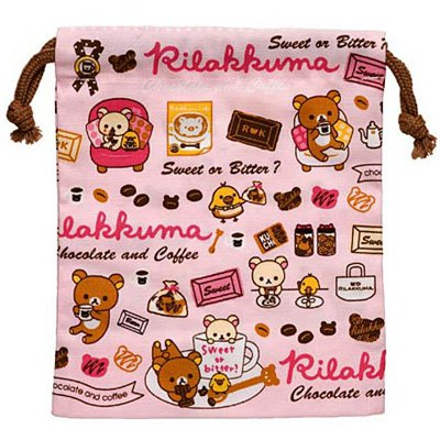 San-X Rilakkuma Chocolate & Coffee Series Pink Drawstring Bag - #401
