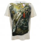ARTFUL HEAVY BIKER Size L Tattoo Street Men T-SHIRT Cream a03
