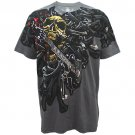 ARTFUL GUITAR ART ROCK Size XL Gray Men Tattoo Street T-SHIRT a09