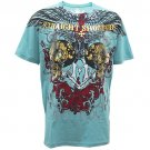 ARTFUL HARD ROCK Size XXL Tattoo Street Men T-SHIRT Blue a11