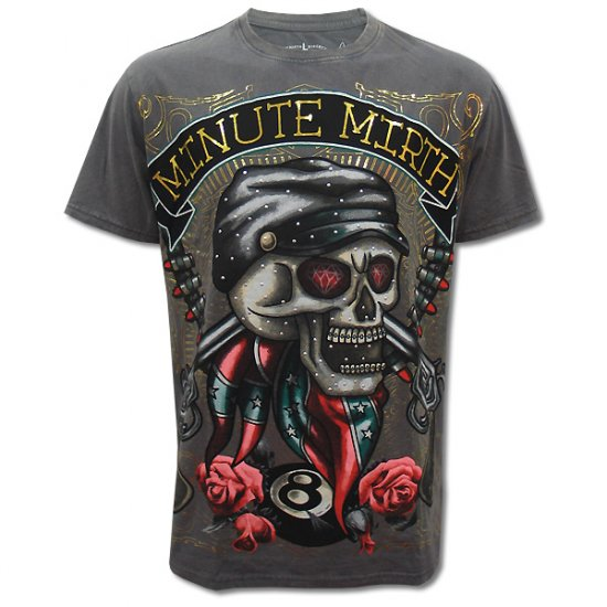 MINUTE MIRTH ROCK SKULL BIKER Size M Tattoo T-SHIRT Men m10