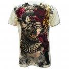 VANTAGE Samurai Art Cream Size M Tattoo Street New T-SHIRT Men v17