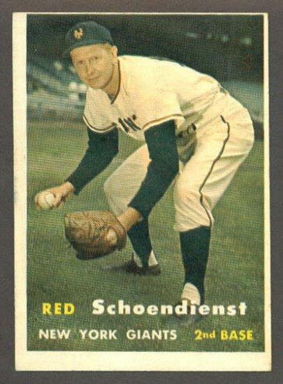 1957 Topps baseball set # 154 Red Schoendienst HOF New York Giants