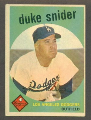 1959 Topps baseball set # 20 Duke Snider HOF Los Angeles Dodgers