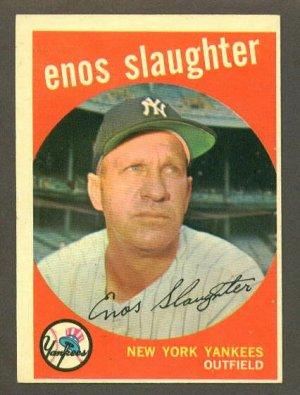 1959 Topps baseball set # 155 Enos Slaughter HOF New York Yankees