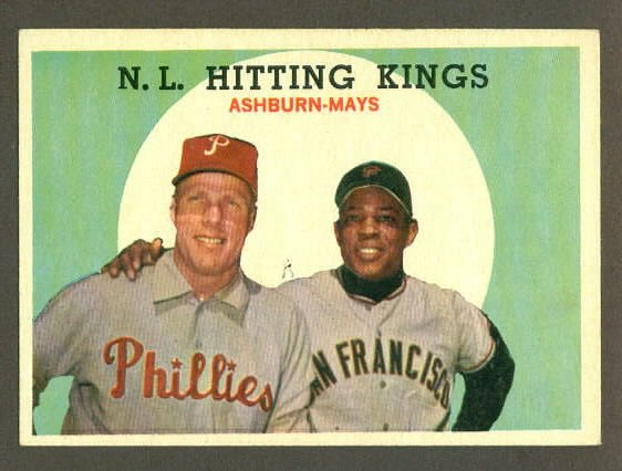 1959 Topps baseball set # 317 Richie Ashburn & Willie Mays