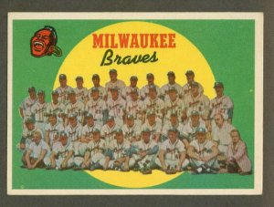 1959 Topps baseball set # 419 Milwaukee Braves team card