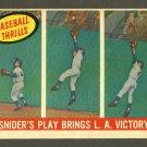1959 Topps baseball set # 468 Snider's play brings L.A. victory