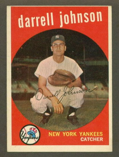 1959 Topps baseball set # 533 Darrell Johnson New York Yankees