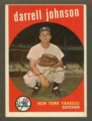 1959 Topps baseball set # 533 Darrell Johnson New York Yankees