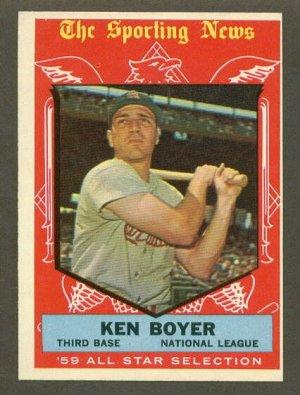 1959 Topps baseball set # 557 Ken Boyer All Star St. Louis Cardinals