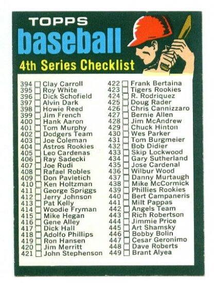 1971 Topps baseball set # 369 Series 4 checklist unmarked