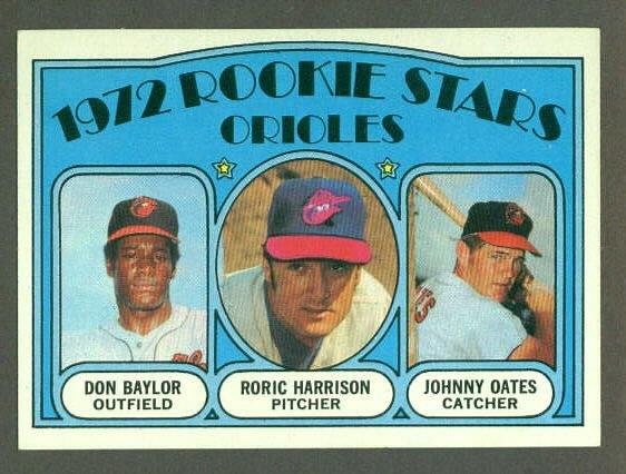 1972 Topps baseball set # 474 Baltimore Orioles Rookie Stars Baylor & Oates