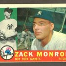 1960 Topps baseball set # 329 Zack Monroe New York Yankees