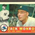 1960 Topps baseball set # 329 Zack Monroe New York Yankees
