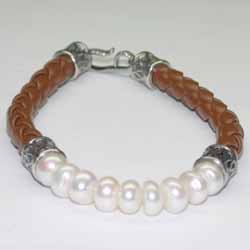 Genuine 7mm Pearl Sterling Silver And Leather Bracelet