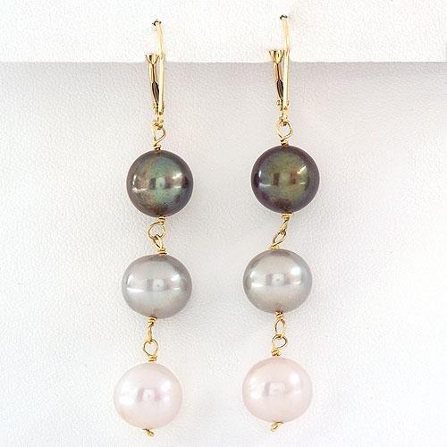 14K Gold Genuine Black Gray And White Pearl Earrings