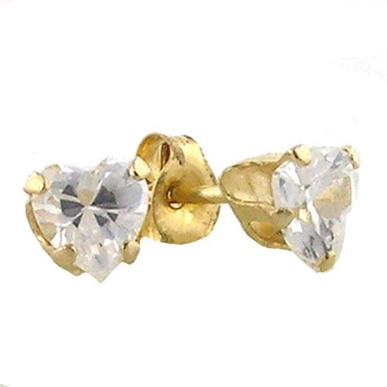 10K Gold .42ct Genuine White Topaz Heart Earrings