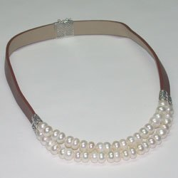Sterling Silver Genuine Leather And Pearl Necklace