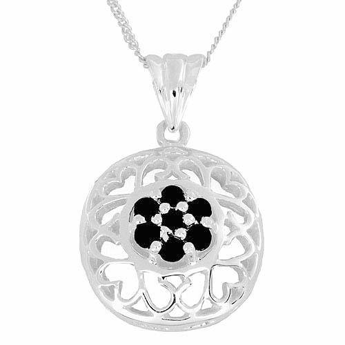 Genuine 1.05ctw Sapphire Necklace 925 Sterling Silver