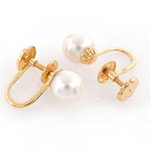 14k Gold 7 mm White Pearl Screwback Earrings