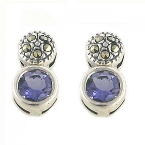 Genuine Iolite And Marcasite Sterling Silver Earrings