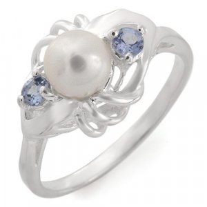 Genuine Pearl And Tanzanite Ring Sterling Size 7.25
