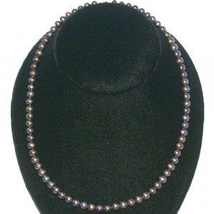 14K Gold Genuine 5.5mm Black Pearl Necklace 16in.