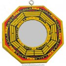 "Flat / True Glass Bagua Mirror~4"" Wooden Handpainted (A)"